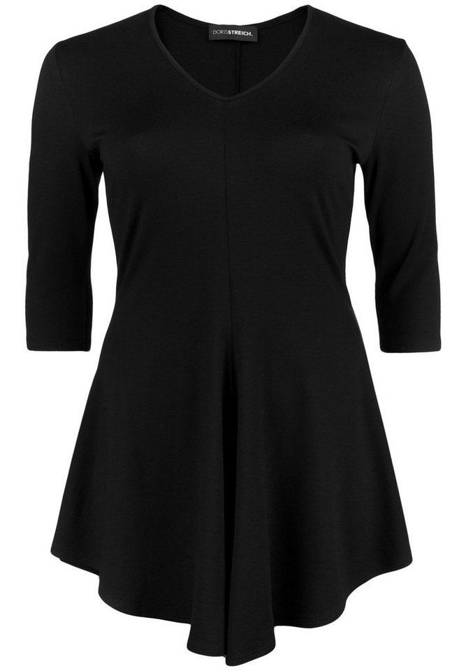Doris Streich Jersey-Longshirt »MIT GLOCKIGEM ZIPFELSAUM« in schwarz