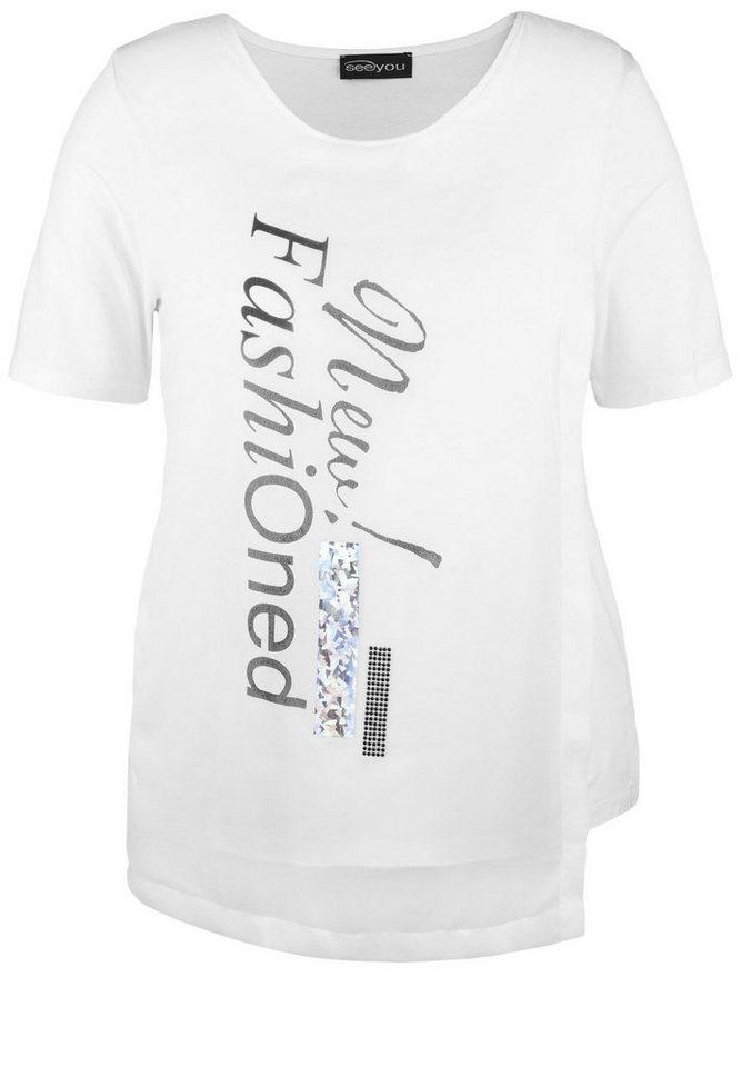 seeyou Shirt »MIT CHIFFON-LAYER UND PRINT« in weiß