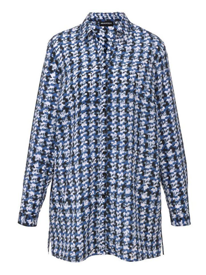 MIAMODA Bluse in Longform in blau/creme