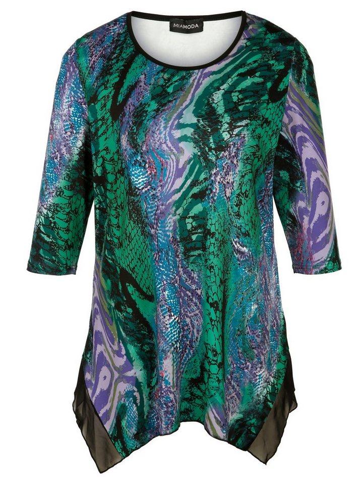 MIAMODA Shirt in Zipfelform in lila/grün/bedruckt