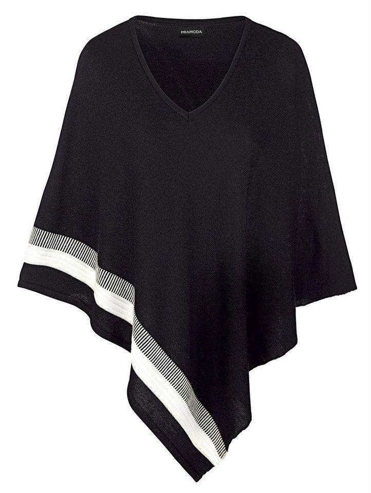 MIAMODA Poncho mit kontrastfarbenem Strickeinsatz in schwarz/creme