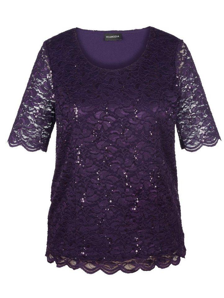 MIAMODA Shirt mit elastischer Spitze in lila
