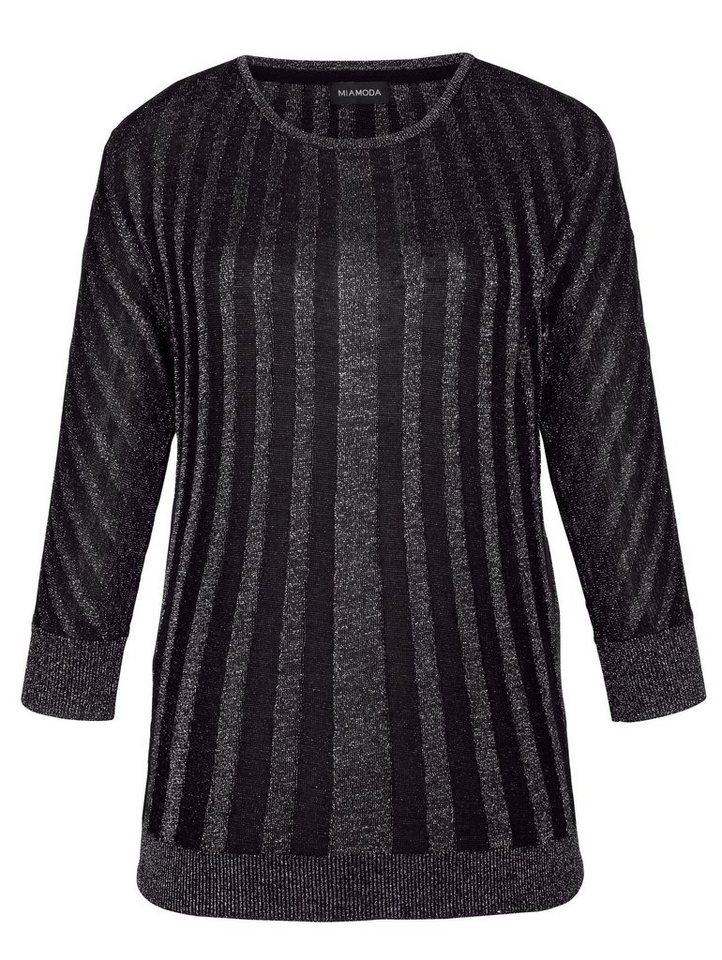 MIAMODA Pullover in schwarz/silber