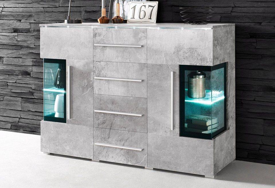 Sideboard, Breite 132 cm in Beton-Optik