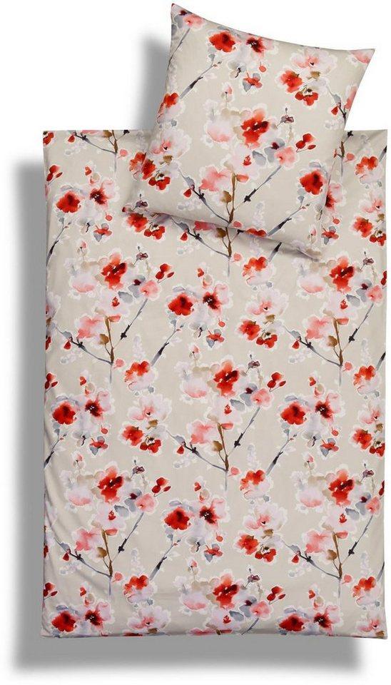 Bettwäsche, Estella, »Levin«, in modernem Blumen-Design in rot