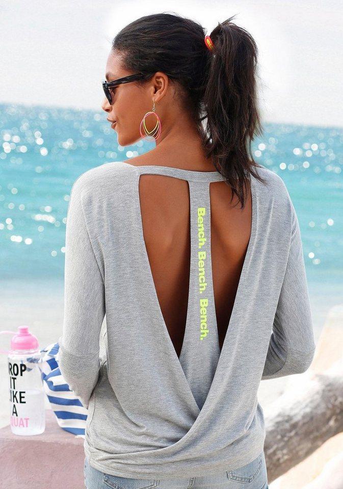 Bench Strandshirt mit tiefem Rückenausschnitt in grau melange