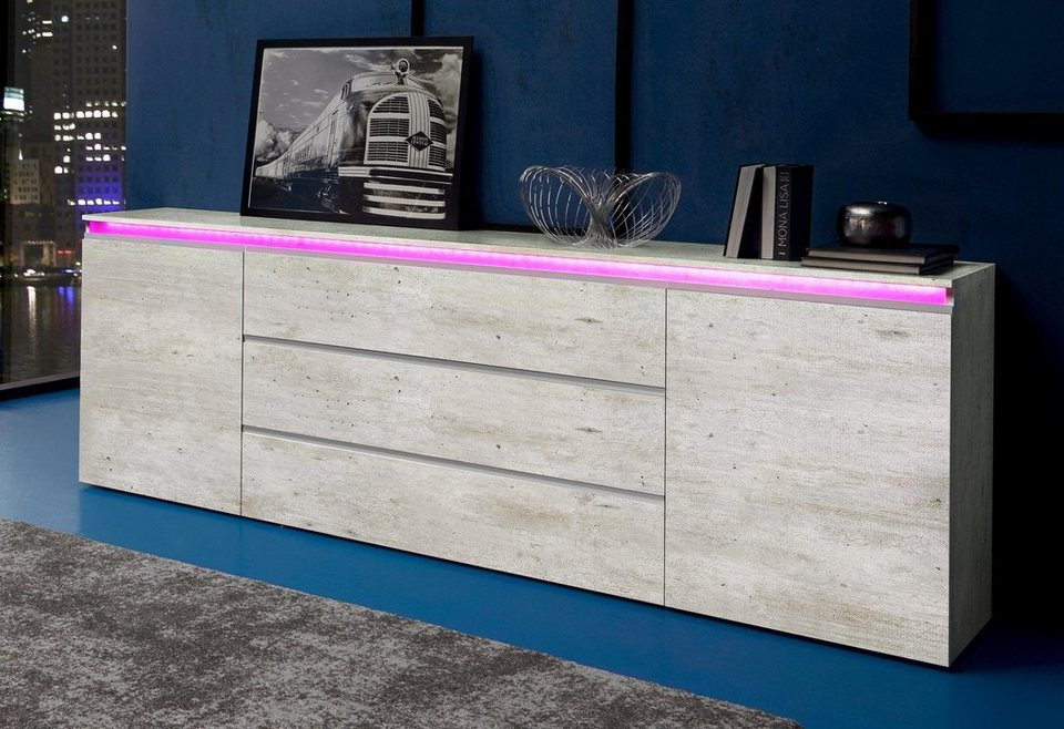 Tecnos Sideboard, Breite 240 cm in Beton-Optik matt