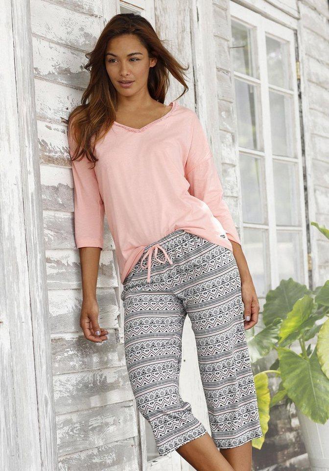 Capri-Pyjama, Buffalo in rosa/gemustert