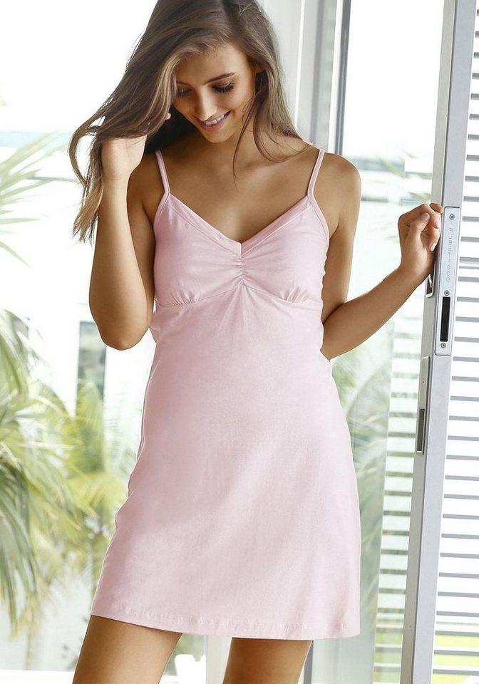 s.Oliver RED LABEL Bodywear Negligé mit Satin am Ausschnitt in rosa