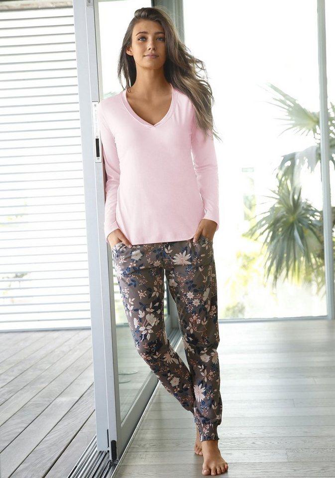 s.Oliver RED LABEL Bodywear Pyjama in rosa/gemustert