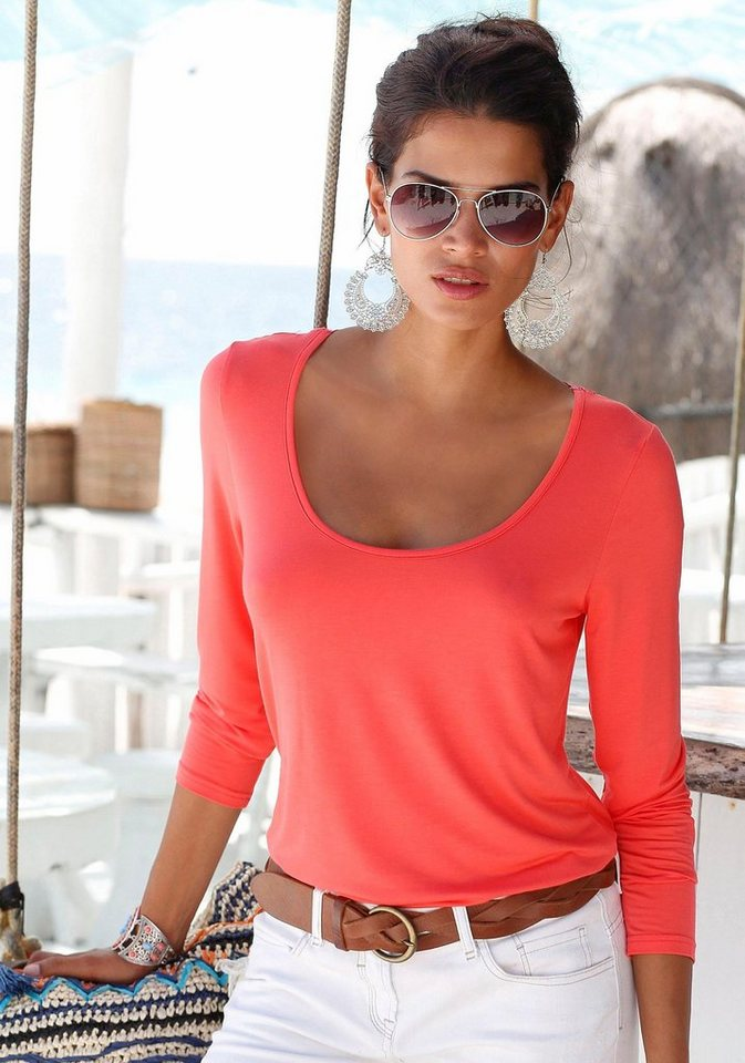 Damen s.Oliver RED LABEL Beachwear  Strandshirt mit Spitzeneinsatz rot | 06970086198295
