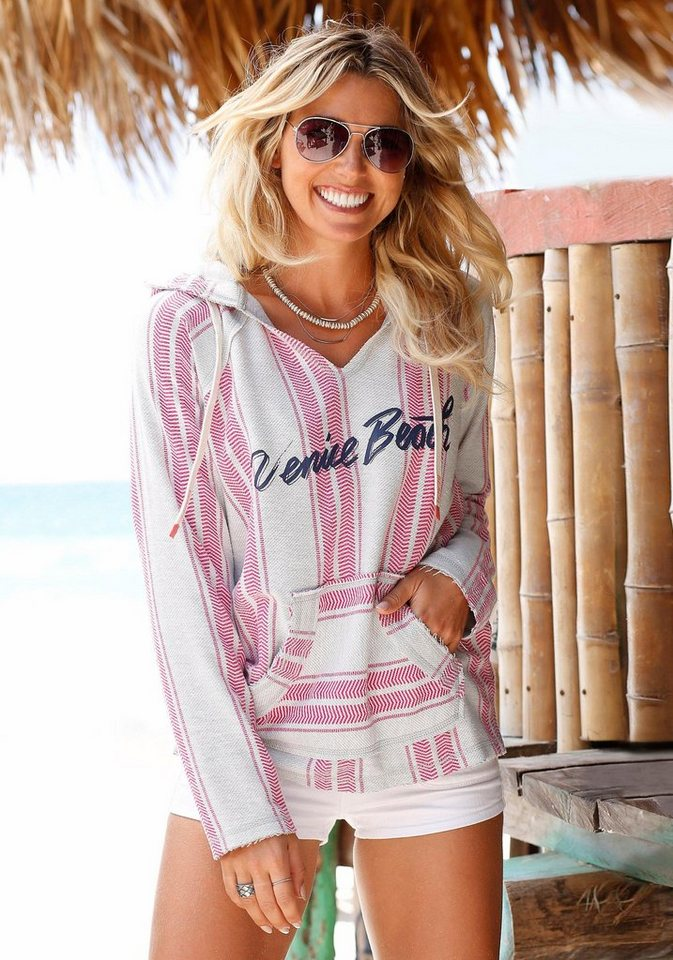 Venice Beach Kapuzensweatshirt in grau-rosa