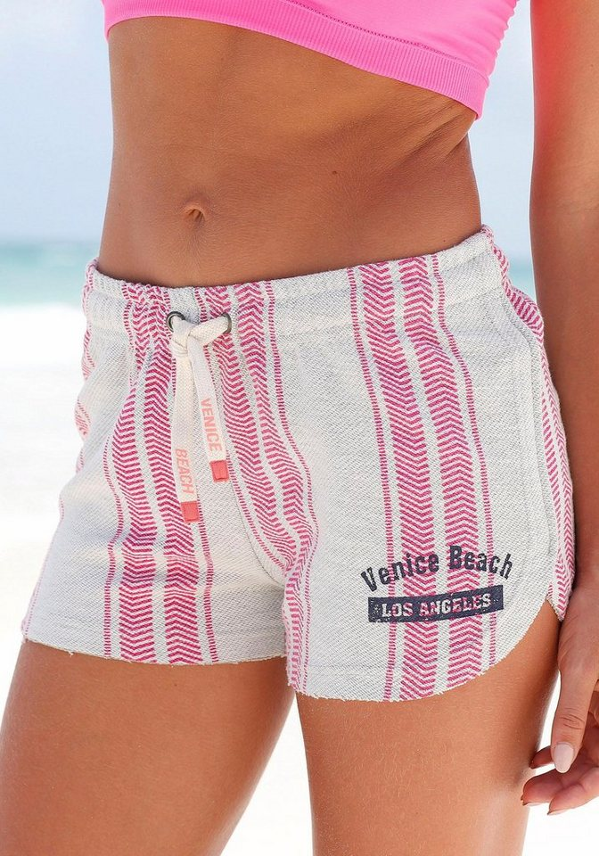 Venice Beach Strandshorts in grau-rosa