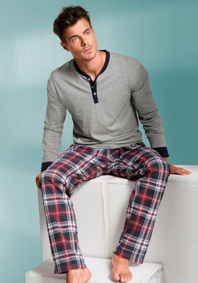 s.Oliver Pyjama, lang in grau meliert-kariert