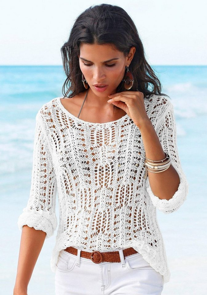 s.Oliver RED LABEL Beachwear Strandpullover in weiß