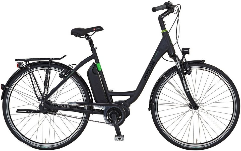 Prophete E-Bike City Damen »Limited Edition«, 28 Zoll, 8-Gang, Mittelmotor, 417 Wh, RH52 in schwarz