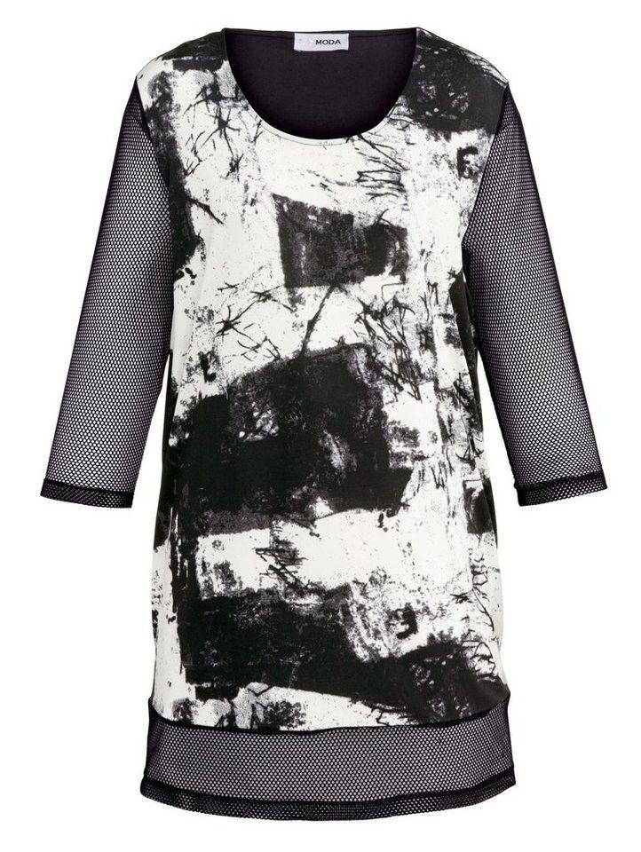MIAMODA Longshirt mit modischem Druck in schwarz/weiß