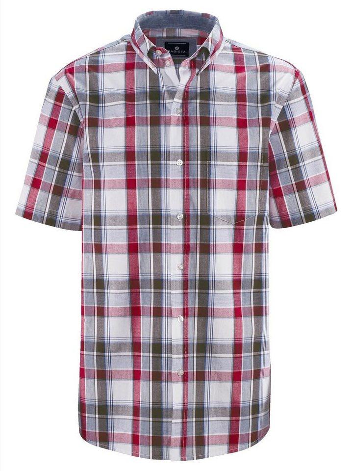 Babista Hemd mit Brusttasche in weiß-rot-oliv