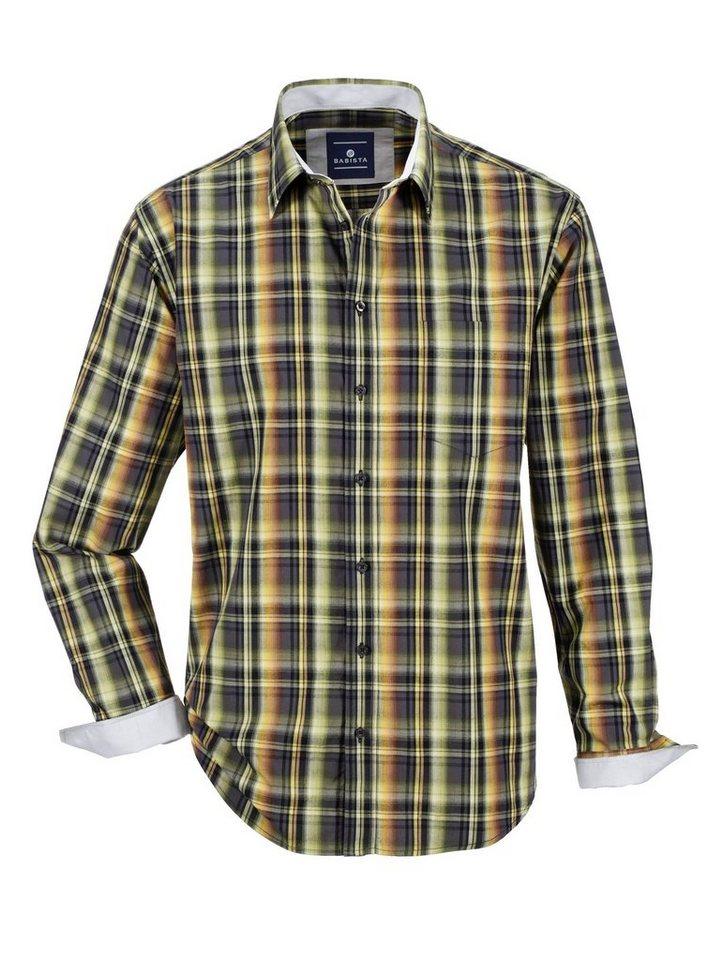 Babista Hemd aus reiner Baumwolle in anthrazit-gelb