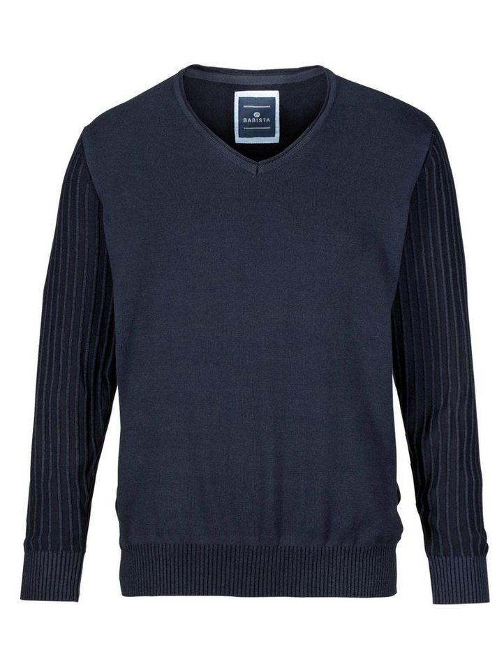 Babista Pullover mit Struktur-Ärmel in dunkelblau