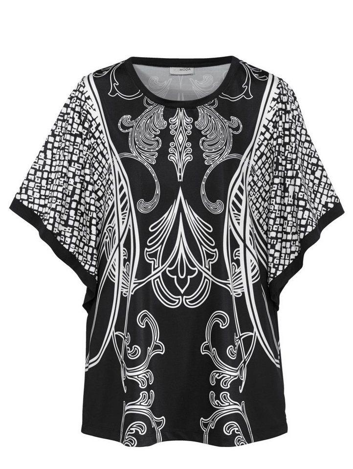 MIAMODA Shirt mit weit fallenden Ärmeln in schwarz/weiß