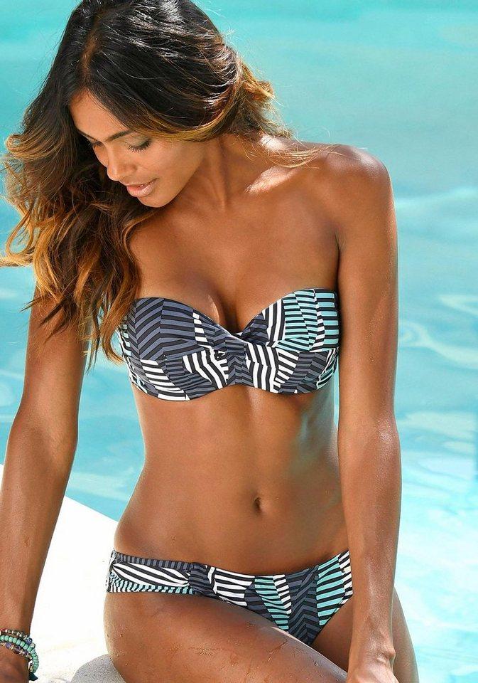 Bügel-Bandeau-Bikini, sunseeker in schwarz-türkis