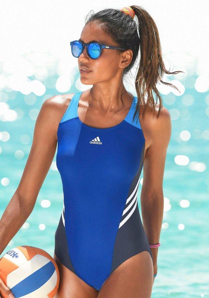 adidas Performance Badeanzug mit gelber 3 Streifen-Optik ...