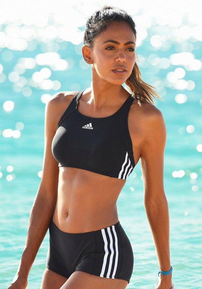 Bustier-Bikini, adidas Performance in schwarz-weiß