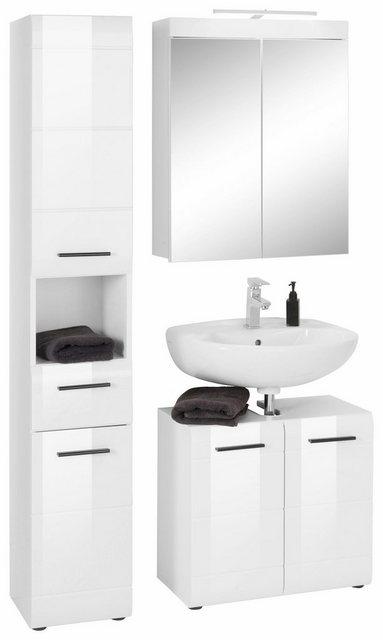 Badezimmer Sets - trendteam Badmöbel Set »Skin«, (Set, 3 St), Spiegelschrank mit LED Beleuchtung, Hochschrank und Waschbeckenunterschrank, mit Fronten in Hochglanzoptik  - Onlineshop OTTO
