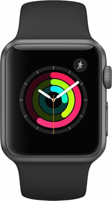 Apple Watch S1 Aluminiumgehäuse 38mm mit Sportarmband Smartwatch in Grau/Schwarz