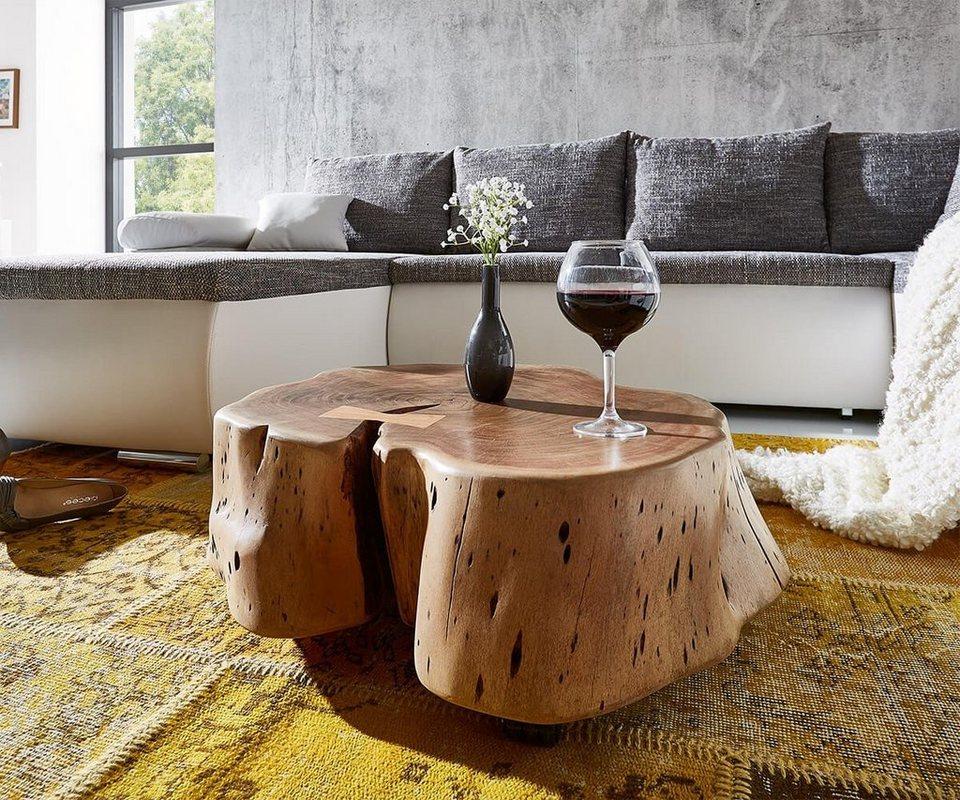 DELIFE Wohnzimmertisch Live-Edge Akazie Natur Baumstamm rollbar in Braun