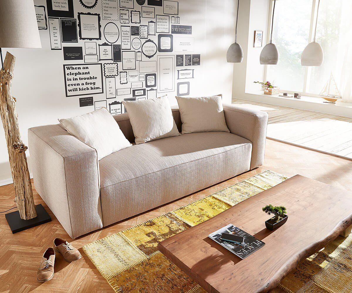 DELIFE Sofa Oceana Beige 245x102 cm Kubisch inklusive Kissen 3-Sitzer