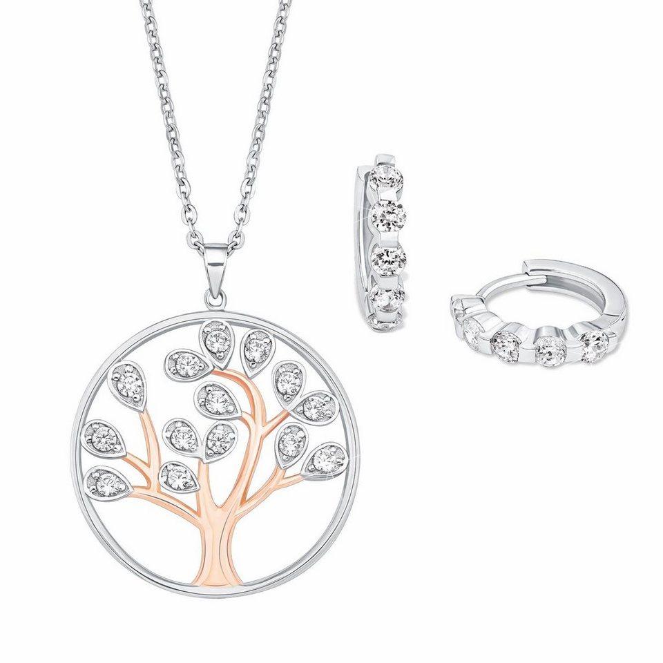 Amor Schmuckset »Lebensbaum, AS1/3 576703« mit Zirkonia (Set, 4 tlg.) in Silber 925-roségoldfarben