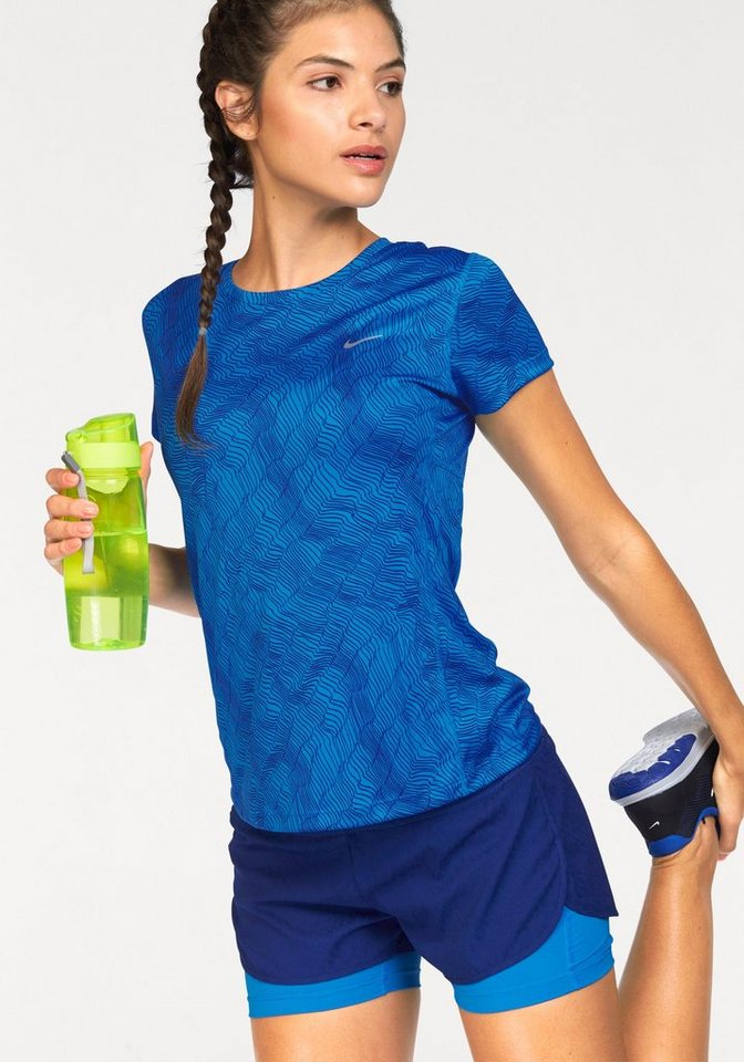 Nike Laufshirt »DRY MILER TOP SHORT SLEEVE PRINT« in blau