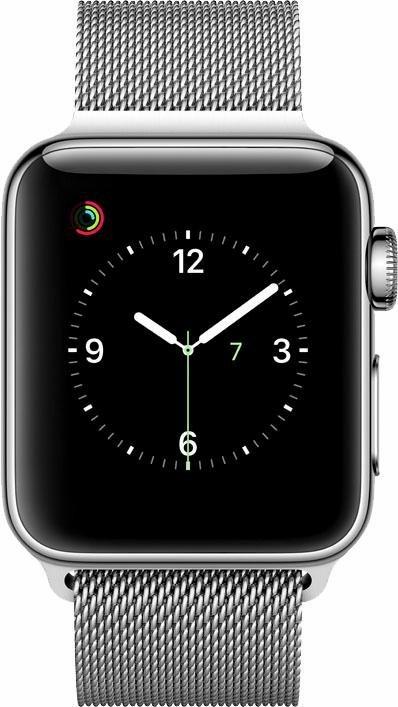 Apple Watch S2 Edelstahlgehäuse 38mm Milanaise Armband Smartwatch in Silberfarben