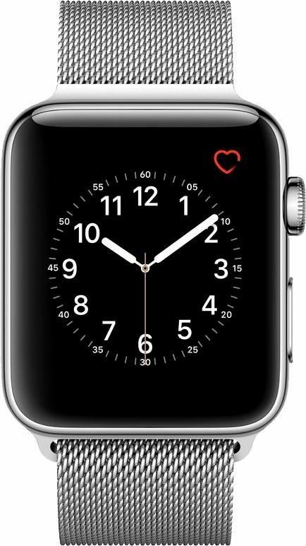 Apple Watch S2 Edelstahlgehäuse 42mm Milanaise Armband Smartwatch in Silberfarben