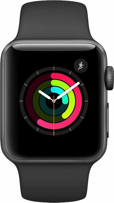 Apple Watch S2 Aluminiumgehäuse 38mm mit Sportarmband, 3,8 cm OLED Retina-Touchscreen Display in Grau/Schwarz