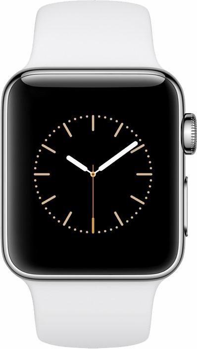Apple Watch S2 Edelstahlgehäuse 38mm mit Sportarmband Smartwatch in Silberfarben/Weiß