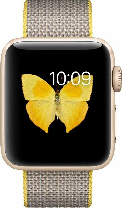 Apple Watch S2 Aluminiumgehäuse 38mm mit gewebtem Nylon Armband Smartwatch in Goldfarben/Gelb/Hellgrau