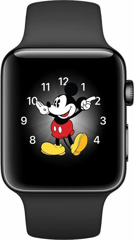 Apple Watch S2 Edelstahlgehäuse 42mm mit Sportarmband Smartwatch in Schwarz