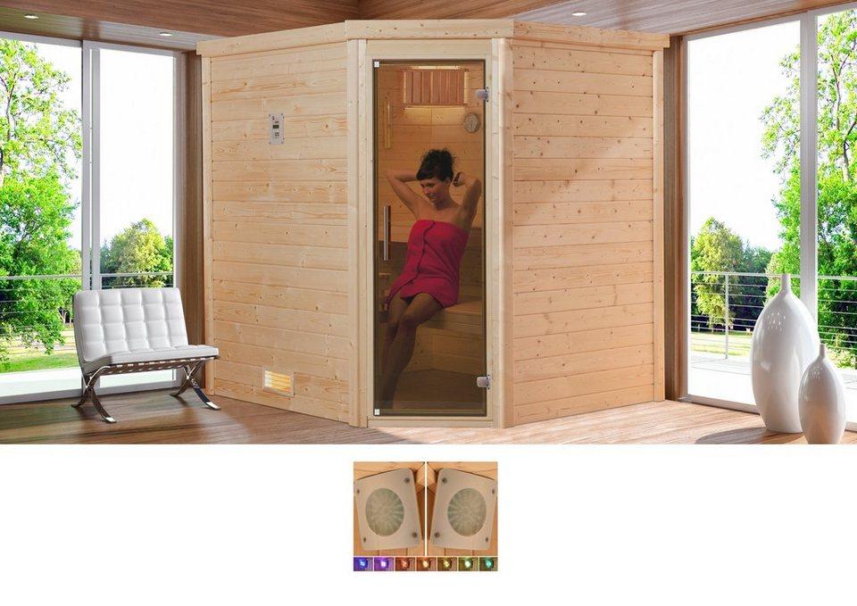 Sauna »Arendal 2«, 188/188/205 cm, 7,5-KW-Kombiofen in natur