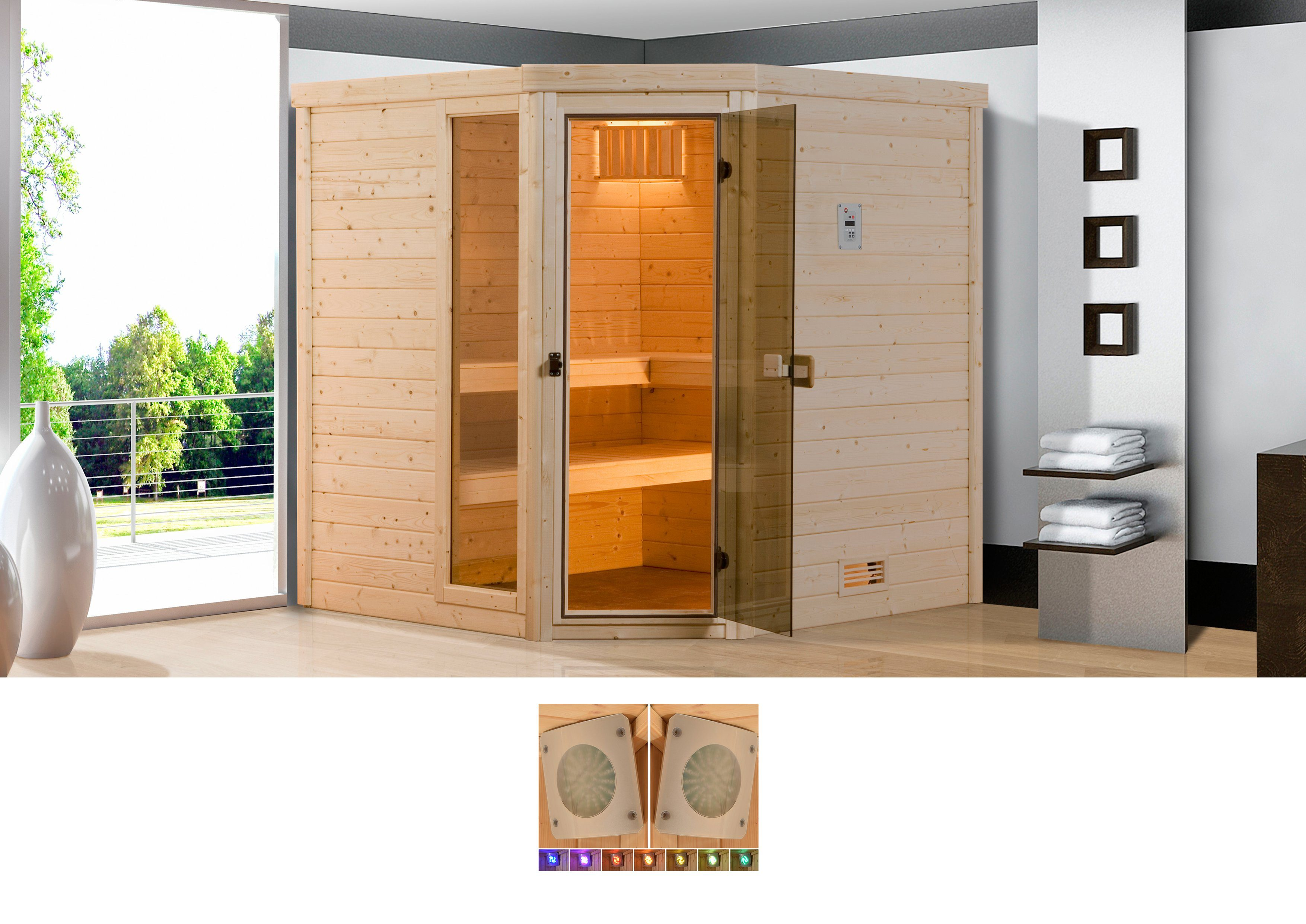 Weka Sauna »Arendal 3«, (B/T/H): 238/188/205 cm, inkl. 7,5-KW-Kombiofen