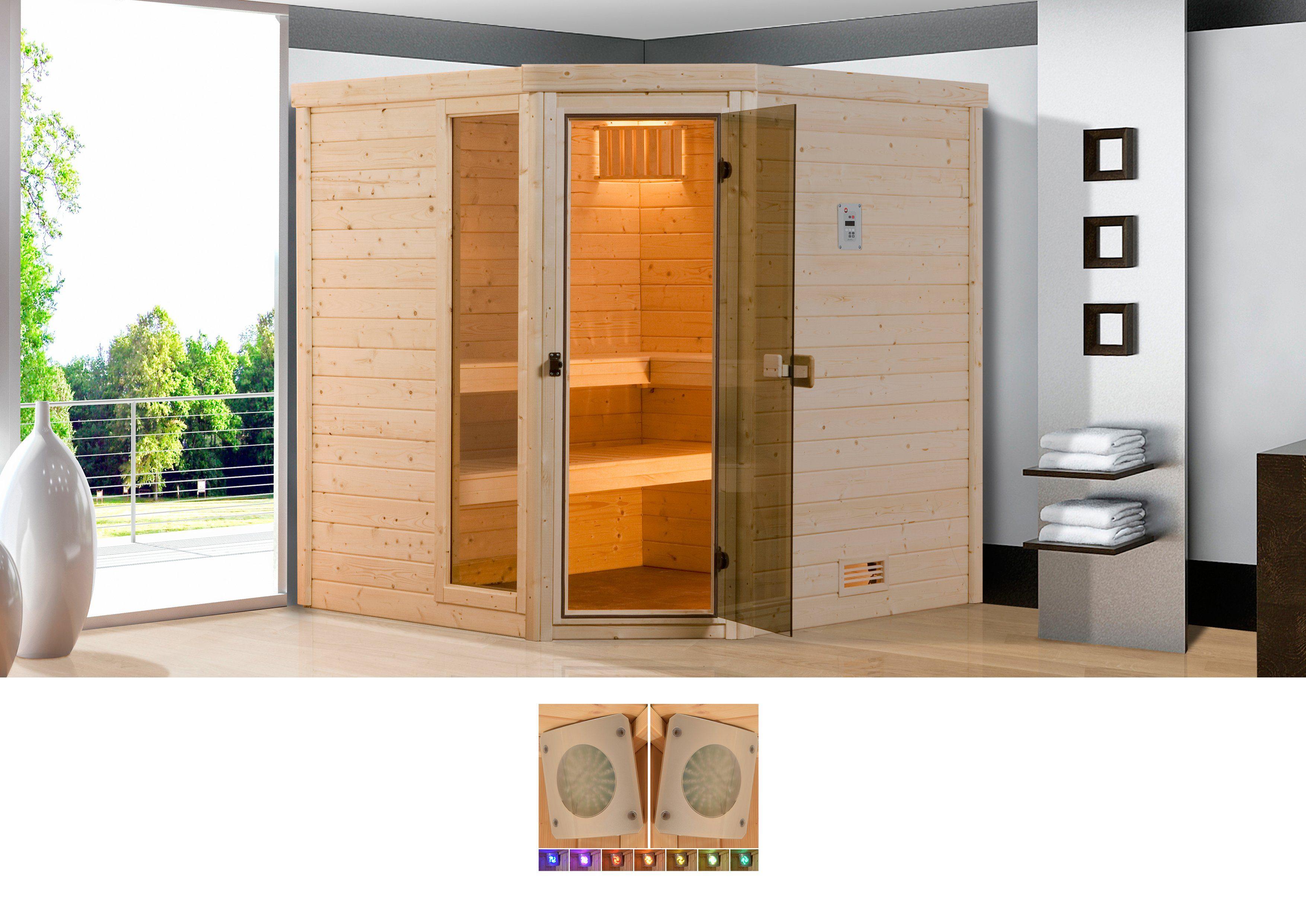 WEKA Sauna »Arendal 3«, 238x188x205 cm, 45 mm, 9-kW-Ofen mit int. Steuerung