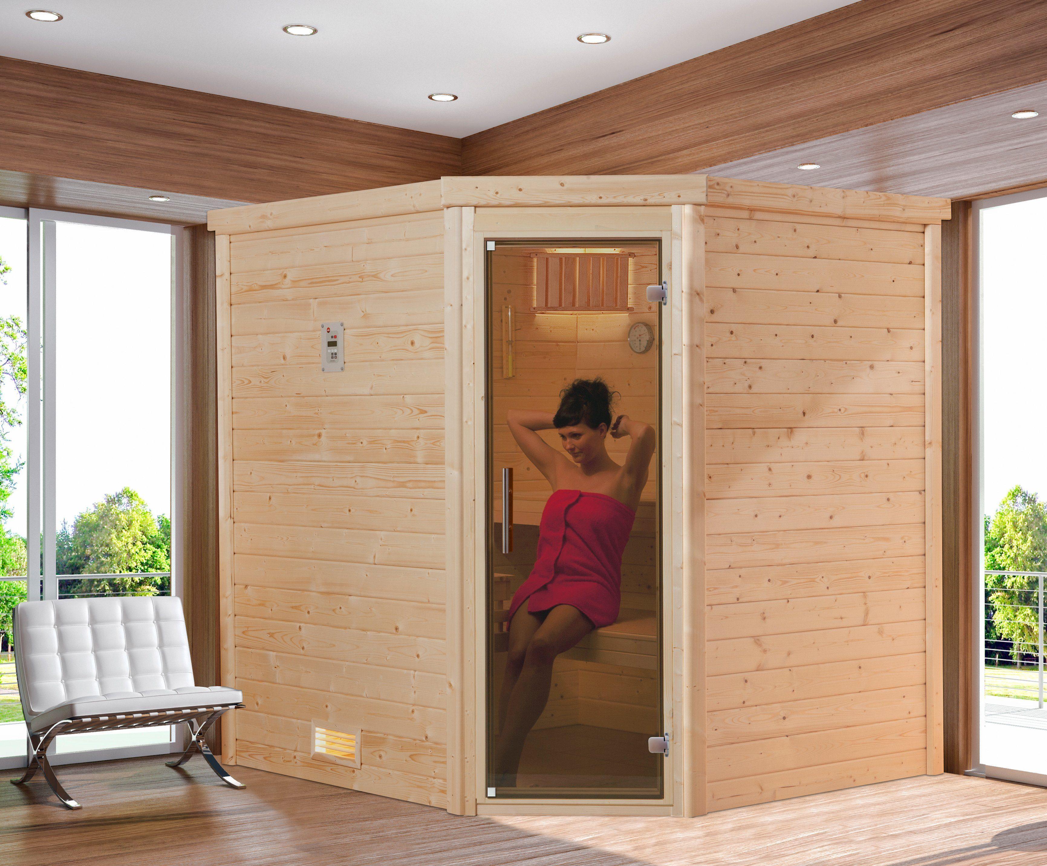 Sauna »Arendal 2«, 188/188/205 cm, 8-KW-Ofen mit int. Steuerung