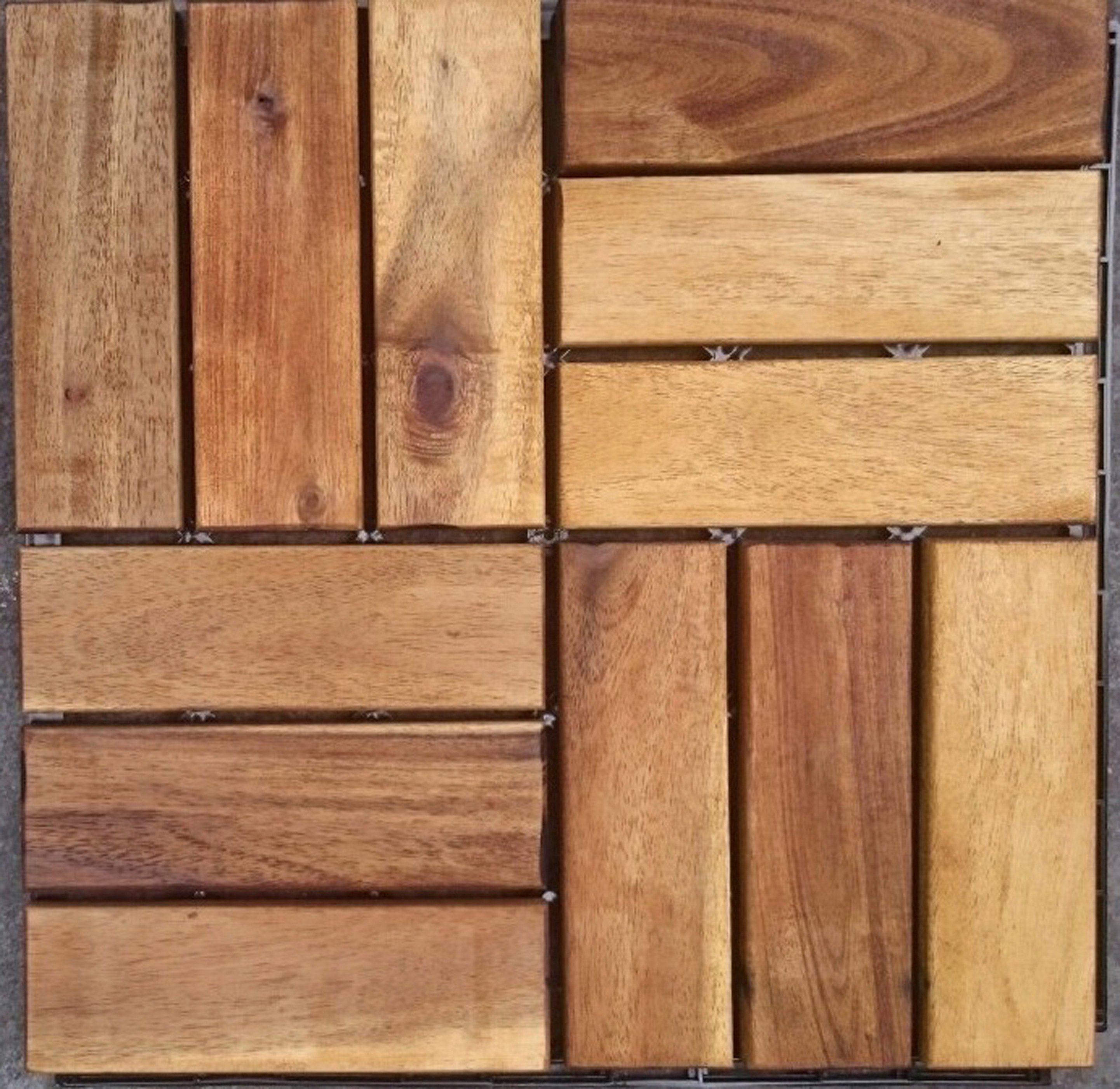Merxx Holz-Fliesen »Akazie« mit Klick-Verbindung,, Fläche: 3,6 m²/Paket, braun