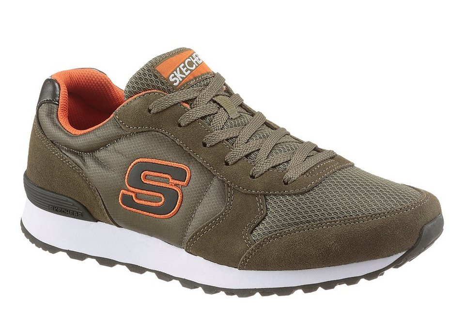 Skechers Sneaker Air-Cooled Memory Foam Decksohle in olivgrün-orange