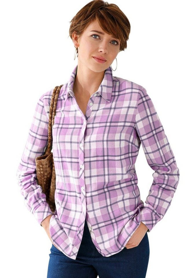 Collection L. Bluse mit Hemdkragen in rosé-kariert