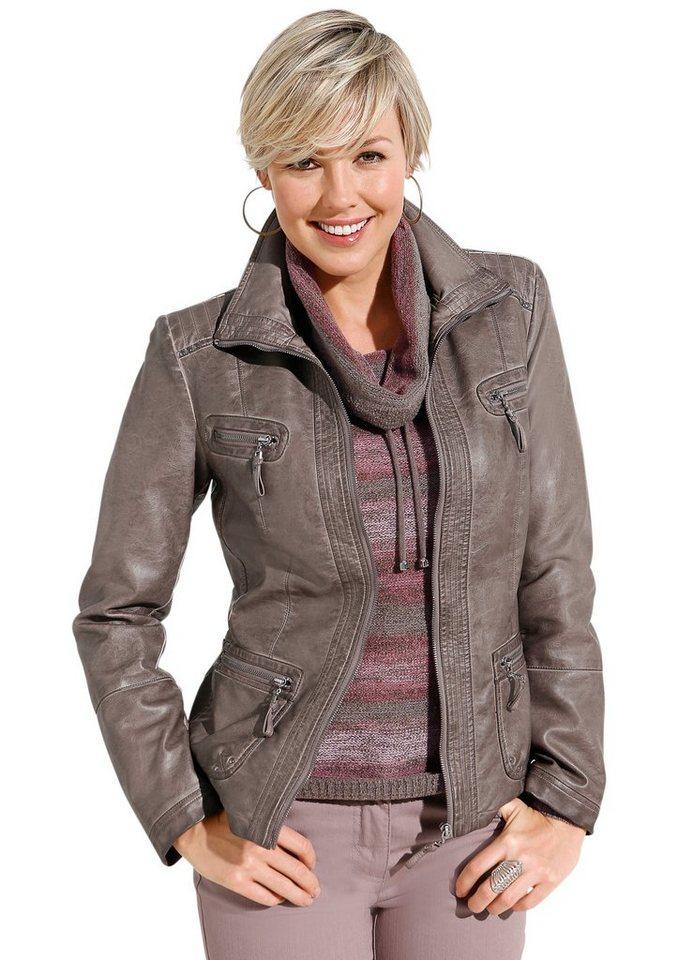 Mainpol Jacke aus weichem Leder-Imitat in taupe