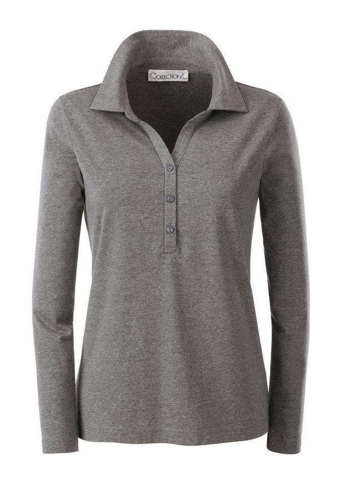 Collection L. Poloshirt mit praktischer Knopfleiste in grau-meliert