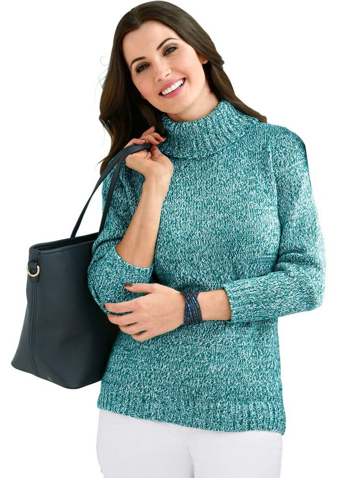 Classic Basics Pullover in trendiger Melange-Optik in petrol-meliert